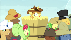 Size: 1280x722 | Tagged: apple bumpkin, apple fritter, appleoosa's most wanted, blues, braeburn, caramel, cherry cola, cherry fizzy, hay bale, meadow song, noteworthy, safe, screencap
