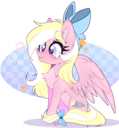 Size: 2628x2804 | Tagged: artist:lazuli, blushing, bow, bubble, chest fluff, cute, ear fluff, female, hair bow, mare, oc, oc:bay breeze, ocbetes, oc only, pegasus, pony, safe, simple background, tail bow, tongue out, transparent background, ych result