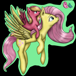 Size: 894x894 | Tagged: safe, artist:lunaapple, fluttershy, oc, oc:shyflower, butterfly, pegasus, pony, black background, female, flying, foal, mother and daughter, offspring, parent:big macintosh, parent:fluttershy, parents:fluttermac, pony ride, simple background