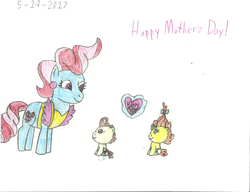 Size: 2208x1696 | Tagged: artist:worldofcaitlyn, cake twins, card, cup cake, mother's day, pony, pound cake, pumpkin cake, safe, siblings, traditional art, twins