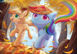 Size: 3000x2122 | Tagged: safe, artist:leafywind, applejack, rainbow dash, earth pony, pegasus, pony, fall weather friends, cute, dashabetes, duo, female, jackabetes, leaves, mare, missing cutie mark, running of the leaves, smiling, starry eyes, tree, wingding eyes