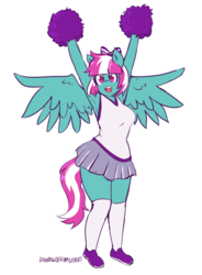 Size: 2095x2854 | Tagged: anthro, armpits, artist:rainbowsprinklesart, bow, cheering, cheerleader, cheerleader outfit, clothes, cute, female, kneesocks, mare, miniskirt, pleated skirt, pom pom, ribbon, safe, shoes, skirt, socks, solo, spring step, sunlight spring, thighs