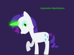Size: 9375x7032 | Tagged: artist:worldofcaitlyn, evil grin, female, glowing horn, green eyes, grin, horn, inspirarity, inspiration manifestation, mare, pony, possessed, purple background, raised hoof, rarity, safe, simple background, smiling, solo, unicorn