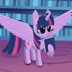 Size: 1080x1080 | Tagged: safe, artist:stellardust, derpibooru exclusive, twilight sparkle, alicorn, pony, book, chest fluff, female, library, mare, solo, twilight sparkle (alicorn), twilight's castle, twilight's castle library