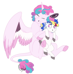 Size: 890x898 | Tagged: alicorn, artist:colourstrike, big sister, brother and sister, colored hooves, cute, eyes closed, female, hug, leonine tail, male, oc, oc:prince maximus, offspring, older, older flurry heart, parent:princess cadance, parent:shining armor, parents:shiningcadance, pegasus, pony, princess flurry heart, safe, siblings, simple background, transparent background