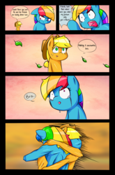 Size: 2698x4087 | Tagged: anthro, applejack, artist:mustachedbain, bro, comic, crying, earth pony, female, hat, hug, mare, pegasus, pony, rainbow dash, safe, style change