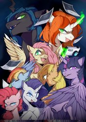 Size: 1476x2085 | Tagged: safe, artist:snowillusory, crackle cosette, mean applejack, mean fluttershy, mean pinkie pie, mean rainbow dash, mean rarity, mean twilight sparkle, queen chrysalis, alicorn, changeling, changeling queen, earth pony, pegasus, unicorn, the mean 6, black background, camera, clone, disguise, disguised changeling, female, gesugao, glowing horn, horn, magic, mare, mean six, simple background, telekinesis