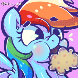 Size: 900x900 | Tagged: artist:talimingi, food, icon, muffin, rainbow dash, safe