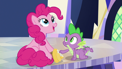 Size: 1920x1080 | Tagged: safe, screencap, pinkie pie, spike, dragon, pony, the last laugh, cupcake, cutie map, food, twilight's castle, winged spike