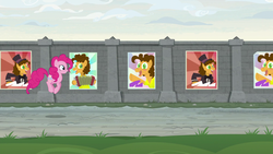 Size: 1920x1080 | Tagged: safe, screencap, cheese sandwich, pinkie pie, pony, the last laugh, poster, pronking, wall
