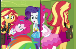 Size: 1663x1073 | Tagged: comparison, equestria girls, equestria girls series, flexible, geode of empathy, geode of shielding, geode of sugar bombs, magical geodes, pinkie being pinkie, pinkie physics, pinkie pie, rainbow dash, rarity, safe, screencap, sock it to me, spoiler:choose your own ending (season 2), spoiler:eqg series (season 2), sunset shimmer