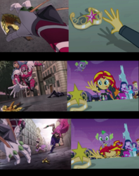 Size: 922x1164 | Tagged: applejack, arrow, big crown thingy, bruno bucciarati, comparison, diavolo, dog, edit, element of magic, equestria girls, equestria girls (movie), fluttershy, giorno giovanna, golden wind, guido mista, horse statue, humane five, jewelry, jojo's bizarre adventure, king crimson, pinkie pie, rainbow dash, rarity, regalia, safe, screencap, spike, spike the dog, spoilers for another series, sunset shimmer, trish una, twilight sparkle, vento aureo