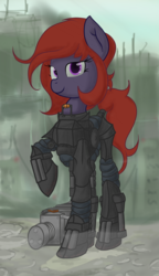 Size: 1105x1920 | Tagged: armor, artist:furncoart, explicit source, fallout, female, looking at you, mare, oc, oc:lumi lithe, oc only, pony, power armor, raised hoof, safe, smiling, solo
