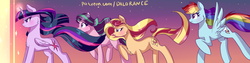 Size: 1600x400 | Tagged: safe, artist:xjenn9, rainbow dash, starlight glimmer, sunset shimmer, twilight sparkle, alicorn, pony, twilight sparkle (alicorn), windswept mane