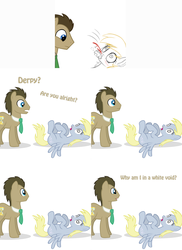 Size: 2002x2755 | Tagged: artist:ask-theponydoctor, artist:jitterbugjive, ask, blood, derpy hooves, doctor whooves, foaming at the mouth, fourth wall, lovestruck derpy, nosebleed, pony, safe, swirly eyes, time turner, tumblr