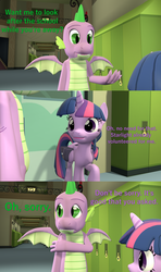 Size: 1920x3240 | Tagged: 3d, alicorn, artist:papadragon69, choose your own adventure, comic, comic:spike's cyosa, dragon, older, older spike, saddle bag, safe, school of friendship, source filmmaker, spike, teenager, teenage spike, twilight sparkle, twilight sparkle (alicorn), winged spike