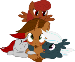 Size: 3000x2485 | Tagged: artist:waveywaves, cuddle pile, cuddling, oc, oc:coppercore, oc:crosswind, oc:firefly, oc:waves, pony, safe, simple background, transparent background