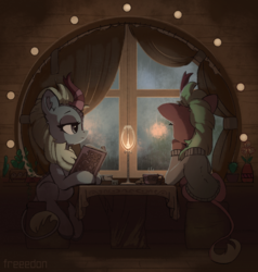 Size: 1900x2000 | Tagged: safe, artist:freeedon, cinder glow, sparkling brook, summer flare, kirin, sounds of silence, book, cactus, candle, clothes, cozy, duo, female, flower, flower pot, human shoulders, indoors, leonine tail, lidded eyes, looking out the window, rain, sitting, sweater, window