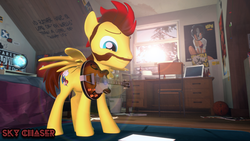Size: 1280x720 | Tagged: 3d, artist:sky chaser, beard, colored eyebrows, facial hair, guitar, male, musical instrument, oc, oc only, oc:sky chaser, pegasus, pony, safe, smiling, solo, source filmmaker, stallion