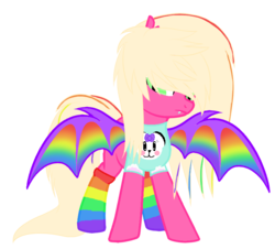 Size: 858x775 | Tagged: artist:lullabyprince, artist:tortured-smile0w0, base used, bat pony, bat pony oc, clothes, commission, female, mare, oc, oc only, oc:punky pop, panda, pony, rainbow socks, safe, scene kid, shirt, simple background, socks, solo, striped socks, transparent background, t-shirt