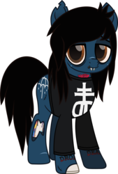 Size: 598x887 | Tagged: artist:lightningbolt, bags under eyes, bloodshot eyes, bone, bring me the horizon, clothes, colored pupils, derpibooru exclusive, drop dead clothing, earth pony, fangs, frown, glasgow smile, lip piercing, long sleeves, looking at you, male, movie accurate, oliver sykes, piercing, ponified, pony, safe, scar, shirt, simple background, solo, stallion, stitches, svg, .svg available, tattoo, torn ear, transparent background, undead, vector, zombie, zombie pony