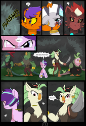 Size: 4750x7000 | Tagged: safe, alternate version, artist:chedx, captain celaeno, starlight glimmer, zecora, abyssinian, cat, pony, unicorn, zebra, comic:the storm kingdom, my little pony: the movie, adventure, alternate hairstyle, alternate timeline, alternate universe, black paw, comic, parallel universe, scar, the bad guy wins, the black paw warlocks