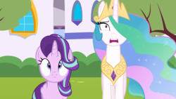 Size: 1280x720 | Tagged: alicorn, alicornified, artist:forgalorga, canterlot, pony, princess celestia, race swap, safe, shocked expression, starlicorn, starlight glimmer, xk-class end-of-the-world scenario