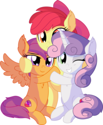 Size: 6535x7882 | Tagged: safe, artist:cyanlightning, apple bloom, scootaloo, sweetie belle, earth pony, pegasus, pony, unicorn, .svg available, absurd resolution, adorabloom, apple bloom's bow, bipedal, blushing, bow, cute, cutealoo, cutie mark, cutie mark crusaders, diasweetes, ear fluff, female, filly, glasses, group hug, hair bow, hug, lidded eyes, open mouth, simple background, smiling, spread wings, the cmc's cutie marks, transparent background, trio, trio female, vector, wings