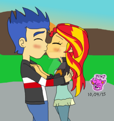 Size: 1024x1090 | Tagged: safe, artist:resotii, flash sentry, sunset shimmer, equestria girls, female, flashimmer, male, shipping, straight