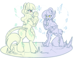 Size: 1280x1024 | Tagged: safe, artist:lulubell, oc, oc only, oc:atsuko, oc:chiyo, crystal pony, earth pony, kirin, pony, boxing, earthbending, family bonding, female, karate, magic, martial arts, mother and daughter, simple background, sketch, smug, sparring, sports, transparent background