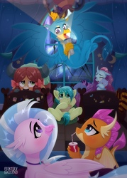 Size: 1548x2160 | Tagged: safe, artist:feekteev, gallus, ocellus, sandbar, silverstream, smolder, twilight sparkle, yona, alicorn, changedling, changeling, classical hippogriff, dragon, earth pony, griffon, hippogriff, pony, yak, blanket, bow, bravest warriors, catbug, chandelier, cloven hooves, colored hooves, cute, diaocelles, diastreamies, dragoness, female, flashlight (object), flying, food, gallabetes, hair bow, hanging, jewelry, lightning, male, monkey swings, necklace, plushie, popcorn, rain, sandabetes, scared, signature, sleepover, smolderbetes, soda, story in the comments, storytelling, student six, teenager, twilight sparkle (alicorn), window, yonadorable