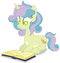 Size: 1323x1392 | Tagged: artist:otakuchicky1, base used, book, female, magical lesbian spawn, mare, oc, oc:rebecha, offspring, parent:bon bon, parent:lyra heartstrings, parents:lyrabon, pony, prone, safe, simple background, solo, transparent background, unicorn
