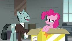 Size: 1920x1080 | Tagged: safe, screencap, pinkie pie, sans smirk, pony, the last laugh, box, factory, gag factory