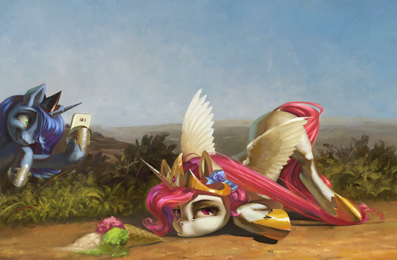 Size: 2000x1313   Tagged: safe, artist:bra1neater, artist:v747, princess celestia, princess luna, alicorn, pony, bored, bush, celestia is not amused, cellphone, cute, cutelestia, dirt road, dropped ice cream, duo, face down ass up, featured image, female, food, grin, ice cream, ice cream cone, ice cream scoop, jewelry, lunabetes, majestic as fuck, mare, phone, pink-mane celestia, pouting, regalia, road, royal sisters, s1 luna, scrunchy face, siblings, sisters, smartphone, smiling, this will end in tears and/or a journey to the moon, tripped, trolluna, unamused, upset, younger