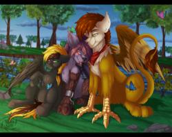 Size: 2500x2000 | Tagged: safe, artist:fkk, oc, oc:nyn indigo, oc:shade demonshy, oc:swango, griffon, timber wolf, commission, female, friendship, griffon oc, male, mare, stallion