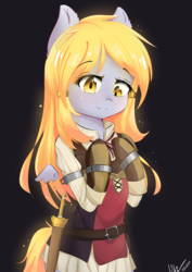 Size: 2894x4093 | Tagged: safe, artist:bubbletea, derpy hooves, pegasus, semi-anthro, background pony, beautiful, clothes, cosplay, costume, cute, female, floating wings, mare, medibang paint, raphtalia, small wings, solo, the rising of the shield hero, waifu, wings
