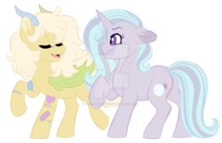 Size: 1024x659 | Tagged: artist:azure-art-wave, deviantart watermark, female, hybrid, interspecies offspring, magical lesbian spawn, male, mare, obtrusive watermark, oc, oc:ataxia, oc only, oc:oracle clarity, offspring, parent:discord, parent:fluttershy, parents:discoshy, parents:startrix, parent:starlight glimmer, parent:trixie, pony, safe, simple background, transparent background, unicorn, watermark