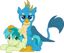 Size: 1500x1250   Tagged: safe, artist:cloudyglow, gallus, sandbar, griffon, pony, cute, duo, gallabetes, gallbar, gay, happy, interspecies, looking at you, male, movie accurate, out of context, paws, prone, sandabetes, shipping, simple background, sitting, stallion, tail, teenager, transparent background, vector