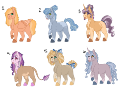 Size: 1052x759 | Tagged: artist:azerae, body freckles, bow, chest fluff, coat markings, colored hooves, earth pony, female, freckles, hair bow, hippogriff, interspecies offspring, magical lesbian spawn, male, mare, oc, oc only, offspring, one eye closed, parent:big macintosh, parent:burnt oak, parent:fleur-de-lis, parent:fluttershy, parent:gilda, parent:limestone pie, parent:party favor, parent:pear butter, parent:princess cadance, parent:rarity, parent:saffron masala, parents:fleur-de-masala, parents:fluttermac, parents:gildance, parents:limefavor, parents:pearoak, parents:rarilane, parent:thunderlane, pegasus, pony, raised hoof, safe, simple background, stallion, tail bow, tongue out, transparent background, unicorn, wink
