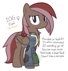 Size: 720x750 | Tagged: alternate universe, artist:modocrisma, blank flank, branding, clothes, fallout, fallout equestria, fanfic, fanfic art, female, hooves, mare, oc, oc:cups, oc only, pegasus, pipboy, pipbuck, pony, reference sheet, safe, show accurate, simple background, solo, vault suit, white background, wings