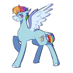 Size: 1508x1502 | Tagged: safe, artist:corporalvortex, part of a set, rainbow dash, pegasus, pony, leak, spoiler:g5, alternate cutie mark, alternate design, alternate hairstyle, bird tail, coat markings, colored hooves, colored wings, female, g5, mare, masculine mare, multicolored hair, rainbow dash (g5), rainbow hair, raised hoof, short mane, short tail, simple background, smiling, solo, tail feathers, white background, wings