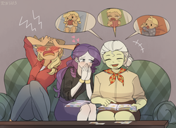 Size: 1873x1358 | Tagged: safe, artist:tcn1205, applejack, granny smith, rarity, human, equestria girls, adorasmith, apple, baby, babyjack, blushing, clothes, couch, cowboy hat, cute, embarrassed, female, food, hat, humanized, jackabetes, lesbian, pacifier, photo, pony coloring, raribetes, rarijack, shipping, sitting, smiling