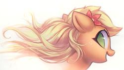 Size: 2135x1201 | Tagged: safe, artist:mirroredsea, applejack, earth pony, pony, alternate hairstyle, bust, cute, female, floppy ears, flower, flower in hair, jackabetes, looking at you, looking back, looking back at you, mare, no pupils, open mouth, portrait, profile, simple background, smiling, solo, white background, windswept mane