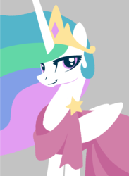 Size: 1105x1511 | Tagged: alicorn, artist:azdaracylius, clothes, dress, female, gala dress, gray background, looking at you, make new friends but keep discord, mare, princess celestia, safe, simple background, smiling, solo, stars