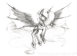 Size: 3507x2550 | Tagged: safe, artist:victoria-luna, princess luna, pony, alternate design, bat wings, flying, hybrid wings, monochrome, ponytail, signature, smiling, solo, spread wings, traditional art, wings