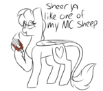 Size: 4500x4000 | Tagged: safe, artist:crazysketch101, oc, oc only, oc:crazy looncrest, pegasus, pony, dialogue, grayscale, imminent shaving, leonine tail, minecraft, monochrome, shears, simple background, solo, white background
