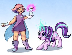 Size: 4096x3114 | Tagged: safe, artist:ohjeetorig, starlight glimmer, human, pony, unicorn, boots, cape, clothes, commission, crossover, dress, female, glimmer (she-ra), glowing hands, glowing horn, horn, magic, name pun, namesake, official fan art, she-ra, she-ra and the princesses of power, shoes, simple background, telekinesis