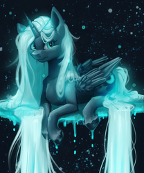 Size: 1280x1536 | Tagged: safe, artist:thewickedvix, princess luna, alicorn, pony, alternate hair color, colored hooves, cutie mark, dripping, female, long mane, long tail, looking at you, mare, missing accessory, redesign, sitting, solo, surreal, unshorn fetlocks, white hair, white mane