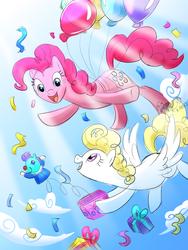 Size: 1200x1600 | Tagged: safe, artist:angexci, pinkie pie, surprise, earth pony, pegasus, pony, balloon, floating, sky, then watch her balloons lift her up to the sky