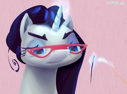 Size: 2000x1476 | Tagged: safe, artist:incmyk, rarity, pony, unicorn, alternate hairstyle, bust, concentrating, eyebrows, female, lidded eyes, magic, mare, needle, pink background, rarity's glasses, simple background, solo, stray strand, telekinesis, thread, threading, tongue out